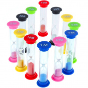 12 Pcs Faburo Hourglass Sand Timer for Baby Playing Home Decor Cooking Exercising Timing 30sec / 1min / 2mins / 3mins / 5mins / 10mins 6 Colours