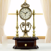 KHSKX Continental pastoral style solid wood King size antique copper clock mute clock table creative town house ornaments,b