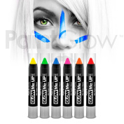 PaintGlow UV Neon Face & Body Paint Stick (6 Pack) Halloween makeup face paint