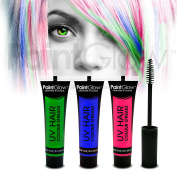 PaintGlow UV Neon Hair Colour Streaks (3 Pack) Festival Temporary Hair dye glow