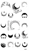 """Spestyle latest hot and fashionble temporary tattoos product dimension 17cm """"x 3.190cm different shape black and white moons, stars and suns tattoo stickers"""