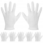 Mudder 6 Pairs Moisturising Gloves Cotton Cosmetic Moisturising Gloves Hand Spa Gloves Moisture Enhancing Gloves, White