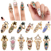 hunpta Women Fashion Bowknot Nail Ring Charm Crown Flower Crystal Finger Nail Rings