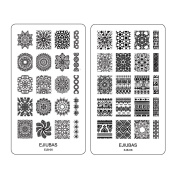 """Ejiubas Double-sided Nail Stamping Plates """"Mysterious Mandala"""" Easy Nail Art Stamping 1 Count"""