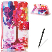 Samsung Galaxy S4 Case,Feeltech MAGQI Premium Soft PU Leather Case Magnetic Closure Notebook Wallet Cover [With Free Stylus Pen] Colourful Painting Pattern Design Stand Function Cash Holder and ID Card Slot Slim Flip Protective Skin Shell With Hand Wri ..