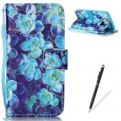 Samsung Galaxy S6 Case,Feeltech MAGQI Premium Soft PU Leather Case Magnetic Closure Notebook Wallet Cover [With Free Stylus Pen] Colourful Painting Pattern Design Stand Function Cash Holder and ID Card Slot Slim Flip Protective Skin Shell With Hand Wri ..