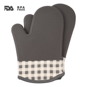 Jonhen Silicone Gloves - Heat Resistance Oven Gloves with Cotton Lining - Silicone Pot holders for Kitchen,Cooking,Baking,Grilling,Barbecue
