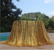 TRLYC 180cm Round Sparkly Gold Sequin Table Cloth Sequin Table Cloth,Cake Sequin Tablecloths,Sequin Linens for Wedding