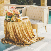 TRLYC 230cm Round Sparkly Gold Sequin Table Cloth Sequin Table Cloth,Cake Sequin Tablecloths,Sequin Linens for Wedding