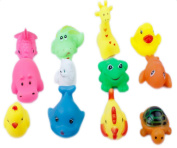 Wicemoon Baby Bath Toys Rubber Animals Child Shower Plaything Bathroom Pool Accessory 12 Pcs