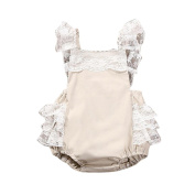 Oyedens Baby Girls Lovely Ruffle Lace Collar Bodysuit Romper Outfits