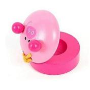 Honeysuck Wooden Pink Pig Round Castanet Musical Instrument Baby Toy