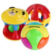 TOYMYTOY 3pcs Plastic Baby Bath Toys Nursery Hand Bell Developmental Shake Rattle Toys