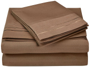 Superior 3000 Series Super Soft and Wrinkle Resistant Microfibre 3-Piece Bed Sheet Set with 3-Line Embroidery in Gift Box, Single, Taupe