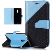 Nokia 6 Case,Nokia 6 Cover,ikasus Hit Colour Collision Premium PU Leather Fold Wallet Pouch Flip Case Bookstyle Magnetic Closure with Card Slots & Stand Protective Case for Nokia 6,Light Blue