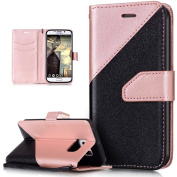 Galaxy S6 Edge Case,Galaxy S6 Edge Cover,ikasus Hit Colour Collision PU Leather Fold Wallet Pouch Case Premium Leather Wallet Flip Stand Credit Card ID Holders Case for Samsung Galaxy S6 Edge,Rose Gold