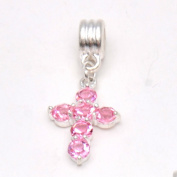 RUBYCA 5Pcs Cross Dangle Pendant Charm Beads Crystal Rhinestone European Bracelet Light Rose Pink