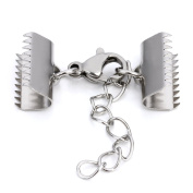 Linsoir Beads 20mm Stainless Steel Ribbon End Crimps Fasteners Clasps Cord Ends with Lobster Claw Clasp and Extension Chain 10 Sets