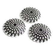 Heather's 54 Pieces Silver Tone Flat Bumps Beads Caps Findings Fit 18-20mm Round Beads Jewellery Making 15mmX3mm