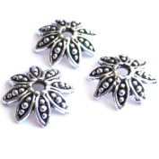 Heather's 70 Pieces Silver Tone Petal Beads Caps Findings Fit 18-20mm Round Beads Jewellery Making 14mmX3mm