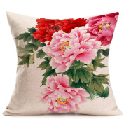 Super Soft Throw Pillow Case Cover, FreshZone Peony Floral Flower Easter Pillow Covers Pillow Case Decorative