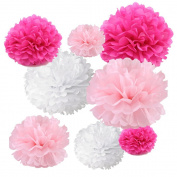 Gold Fortune 18PCS Tissue Hanging Paper Pom Poms Flower Ball Wedding Party Outdoor Decoration Tissue Paper Pom Pom Flowers Craft Kit