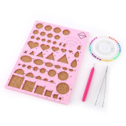Paper Quilling DIY Craft Kit Template Board + Tweezer + Pins + Slotted Pen Quilling Tools Kit, Pink