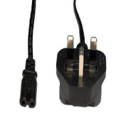 1.8m Figure 8 (C7) UK Power Cable - Black Coloured - Moulded - 3A Fuse - Approved by A.S.T.A - N14848
