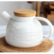 TAMUME 700ml White-Ocean Style Porcelain Teapot with Stainless Steel Filter Coil, Bamboo Lid and Large Spout Design