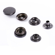 Trimming Shop 10 Pieces 4-Part Gun Metal Press Studs With Prongs - 12Mm Snap Fasteners - Non-Rusting, Nickle Free Poppers - For Scrapbooking, Fabrics, Clothing Repair, And Leather Crafting