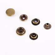 Trimming Shop 10 Pieces 4-Part Antique Brass Press Studs With Prongs - 12Mm Snap Fasteners - Non-Rusting, Nickle Free Poppers - For Scrapbooking, Fabrics, Clothing Repair, And Leather Crafting