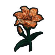 2pcs Orange Flower Embroidered Applique Patch Vintage Patch T-shirt Jeans Decoration Patch DIY Garment Accessories