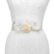 Remedios Handmade Satin and Tulle Flower Pearl Beaded Bridal Sash Wedding Belts for Flower Girls Bridesmaid