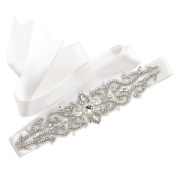 SWEETV Luxury Rhinestone Belt Cummerbunds Bridal Sash Belt Wedding Dress Accessories, Ivory