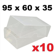 x10 Clear Plastic Business Card Boxes 95mm x 60mm x 35mm - Holds up to 125 Cards Per Box - Transparent Craft Storage Playing Boxes Holder