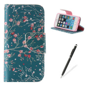 Feeltech iPhone 5/iPhone 5S SE Book Style Case,PU Leather Wallet Case Magnetised Closure Card Slots Money Pouch [Free 5.1cm i Stylu] Hybrid With Stand Function Flip Protective Soft Inner Bumper Cover Case And Credit Holder Lovely Pattern Design For iPh ..