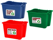 Recycling bin STICKERS set of 3 - A6 (105mm x 148mm) plastic, glass, food waste, rubbish