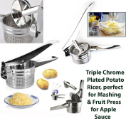 Triple Chrome Plated POTATO RICER for Mashing & FRUIT PRESS for Apple Sauce