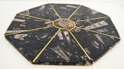 Large Fossils octagonal Platter with metal insert and Ammonoids and Orthoceras Fossils throughout from Paleozoic Period 400million years- Di 30 Cm - JANUARY OFFER
