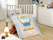 BamBam - Baby Deluxe Duvet Cover Set - 100% Cotton - 4 pieces (Blue) - Made in Turkey