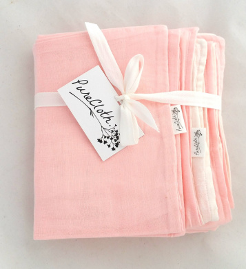 PureCloth Super Soft 2 Piece Set Cotton Baby/Toddler Everything Blanket with Pillowcase for travel, school, crib, stroller (Light Pink)