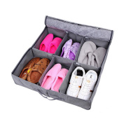 Bamboo Charcoal Non-woven Fabric Foldable Underbed Shoe Organisers Storage Boxes for 3-6 pairs Shoes