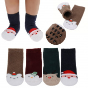 FlyingP 4Pairs Assorted Baby Ankle Socks Soft Footsocks Sneakers Toddler Socks Non Skid Anti Slip Stretch Knit Grips Cotton Shoe Socks Slippers For 0 - 24 Months Toddler Boys Girls