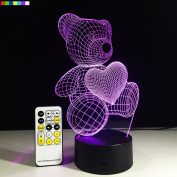 3D Night Lights 7 Colours Change with Remote Control Teddy Bear Heart Perfect Nightlight for Kids Room Help Kids Fell Safe at Night by Easuntec
