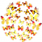 FLY SPRAY 24pcs Vivid Yellow Butterfly Mural Decor Removable Wall Stickers with Adhesive Decals Nursery Decoration 3D Crafts