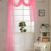 LADEY Pure Trillium Window Mantle Solid Sheer Window Curtains Grommet Voile Panels for Bedroom