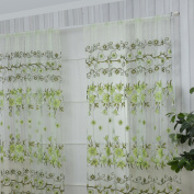 "LADEY One Piece Sheer Window Voile Curtain Leaves Large Flower Offset Printing Style ""100cm ד200cm"