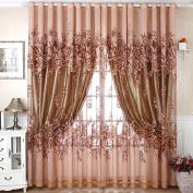LADEY Jacquard Warp Solid Sheer Window Curtains Grommet Voile Panels for Bedroom