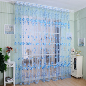 "LADEY One Piece Tulip Pattern Sheer Window Voile Curtain ""100cm ×""200cm"