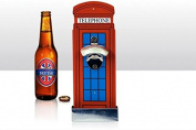 Bottle/Beer Bottle Opener ~TELEPHONE BOX~ Wall Mounted with Cap Catcher